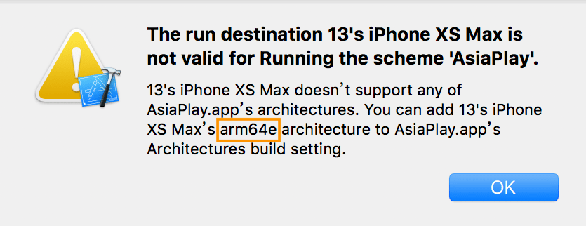 Xcode 9 run on iPhone XS Max